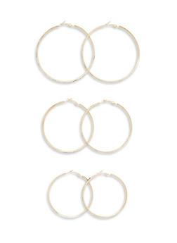 Set of 3 Crystal Covered Hoop Earrings - 3135072695784