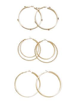 Set of 3 Embellished Hoop Earrings - 3135072695800