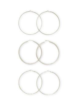 Set of 3 Textural Hoops Earrings - 3135072695805