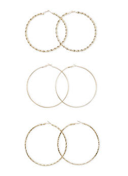 Set of 3 Hoop Earrings with Textural Finishes - 3135072695809