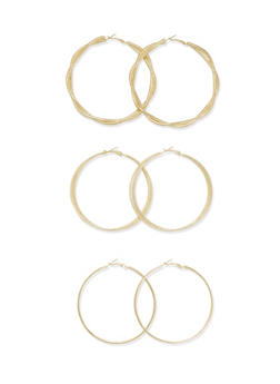 Set of 3 Hoops with Glitter Accents - 3135072695811
