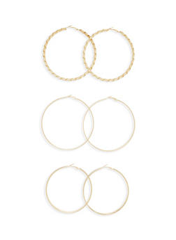 Set of 3 Textural Hoop Earrings - 3135072695822