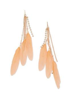 Multi Feather Drop Earrings - 3135072696076