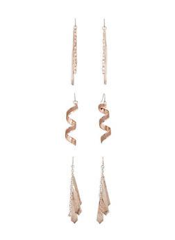 Assorted Metallic Drop Earring Trio - 3135072696454
