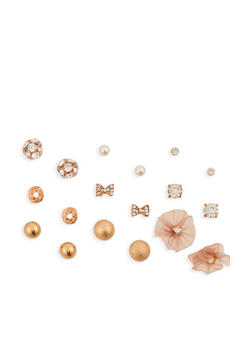 Set of 9 Assorted Stud Earrings - 3135072696458