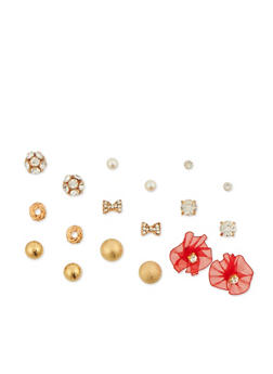 Set of 9 Assorted Stud Earrings - 3135072696458