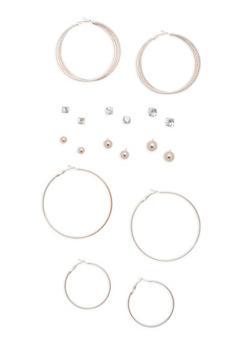 9 Assorted Stud and Hoop Earrings Set - 3135072696594