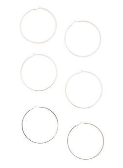 Set of 3 Large Hoop Earrings - 3135072696605