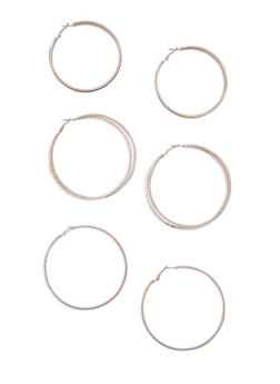 Metallic Textured Hoop Earrings Trio - 3135072696891