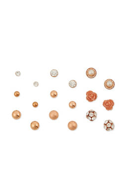 Set of 9 Assorted Stud Earrings - 3135072696947