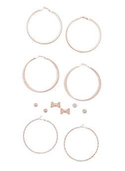 6 Assorted Stud and Hoop Earrings Set - 3135072697035