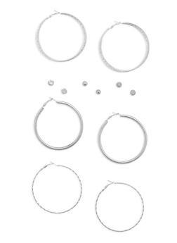 6 Assorted Stud and Hoop Earrings Set - 3135072697036