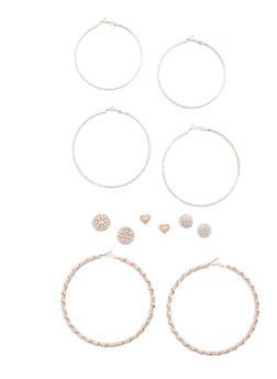 6 Assorted Stud and Hoop Earrings Set - 3135072697224