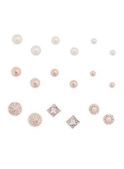 Set of 9 Faux Pearl Rhinestone Stud Earrings - 3135072697226