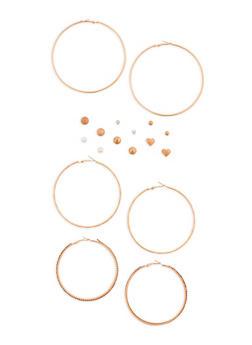 9 Metallic Rhinestone Stud and Hoop Earrings Set - 3135072697369
