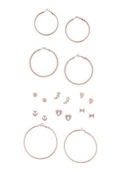 Metallic Stud and Hoop Earrings Set of 9 - 3135072697370