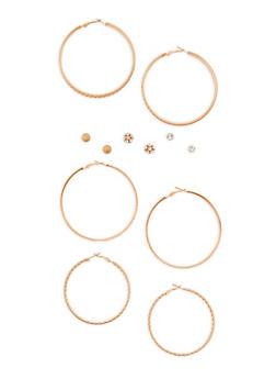 Rhinestone Glitter Stud and Hoop Earrings Set - 3135072697377
