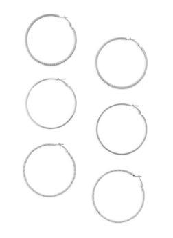 Rhinestone Glitter Hoop Earrings Set of 3 - 3135072697611