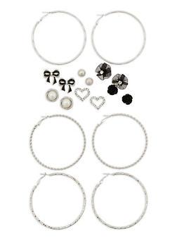 Set of 9 Stud and Hoop Earrings - 3135072697620
