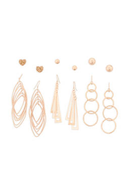 Set of 6 Assorted Stud and Drop Earrings - 3135072697654