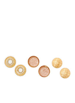 Large Textured Button Earrings Trio - 3135072697704