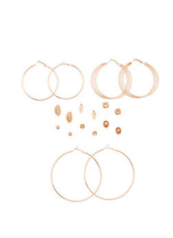 Leaf Stud Earrings and Hoop Earrings Set - 3135072697903