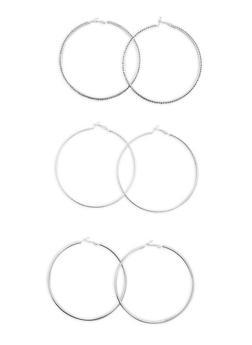 Large Hoop Earrings Trio - 3135072697906