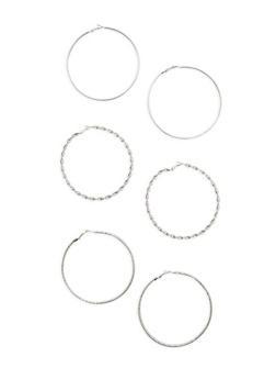 Assorted Large Metallic Hoop Earring Trio - 3135072699085