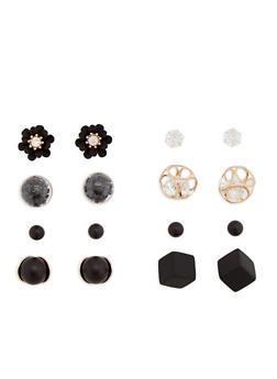 Set of 4 Metallic and Rhinestone Earrings - 3135073847291
