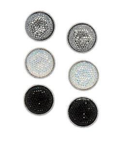 Large Rhinestone Disc Stud Earrings - 3135073847309