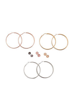 Tri Tone Braided Glitter Hoop and Stud Earrings Set - 3135073847310