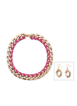 Chain Velvet Wrapped Necklace and Earrings - 3138003200715