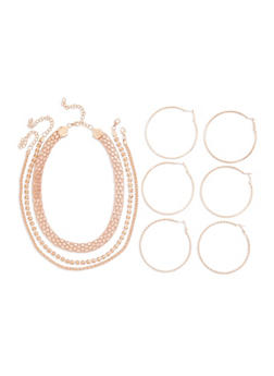 Set of 3 Necklaces and 3 Large Hoop Earrings - 3138003201031