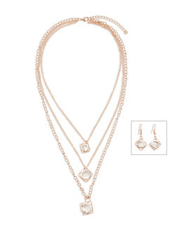 Layered Jewel Charm Necklace with Matching Drop Earrings - 3138003201033