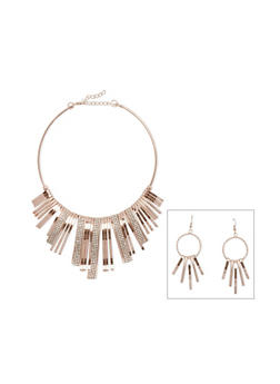 Rhinestone Stick Collar Necklace and Drop Earrings - 3138003201344