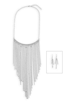 Rhinestone Fringe Necklace with Earrings Set - 3138003201509