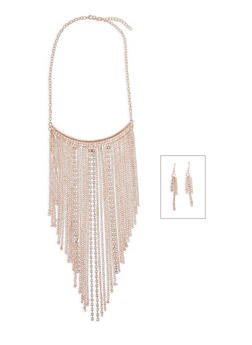 Rhinestone Fringe Necklace with Earrings Set - 3138003201509