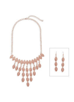 Colored Rhinestone Necklace and Drop Earrings - 3138003202280