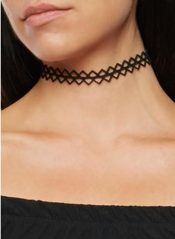 Faux Suede Chain Choker Necklace with Stud Earrings - 3138018430101