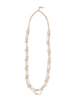 Faux Pearl Beaded Metallic Chain Necklace - 3138018431114