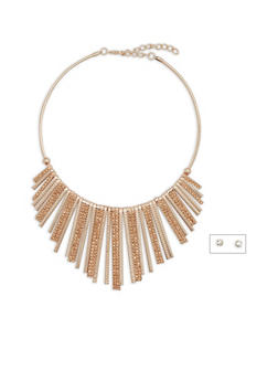 Rhinestone Accented Stick Collar Necklace - 3138018435436