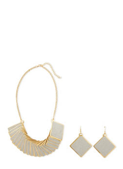 Necklace and Earrings Set with Glitter Accents - 3138018438833