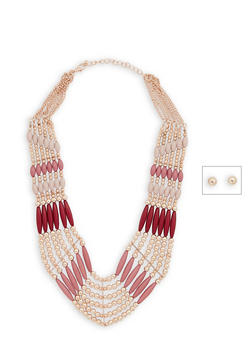 Multi Beaded Necklace and Ball Stud Earrings - 3138035150650