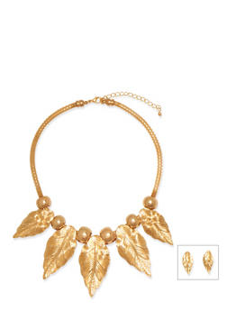 Necklace and Stud Earring Set in Leaf Motif - 3138035150774