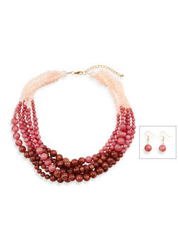 Multi Layer Glass Beaded Necklace with Matching Drop Earrings - 3138035151589