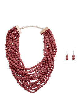 Multi Row Beaded Necklace and Drop Earrings - 3138035151963