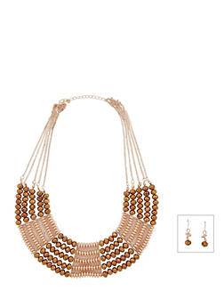 Beaded Collar Necklace and Drop Earrings - 3138035152012