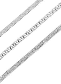 Glitter Chain Choker Necklace Set - 3138035152049