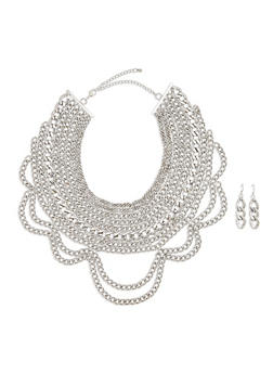 Multi Layer Curb Chain Necklace with Matching Earrings - 3138035152091