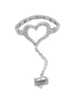 Rhinestone Studded Heart Ring Hand Chain Bracelet - 3138035152178